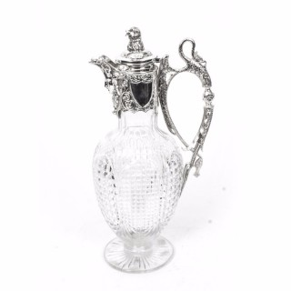 Antique Victorian Silver Plate & Hand Cut Crystal Claret Jug c.1870