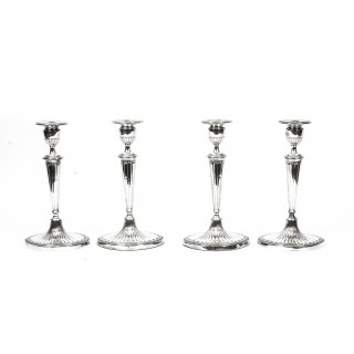 Antique Set of 4 Silver plate Neo Classical Candlesticks by Elkington C1860