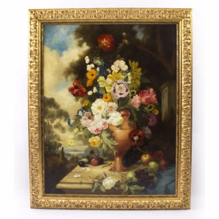 Large Antique Continental School Floral Still Life Oil Painting 19thC 114x98cm