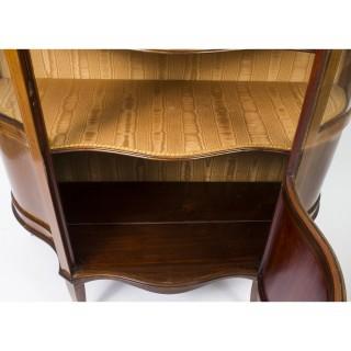 Antique Edwardian Serpentine Glazed Inlaid Mahogany Display Cabinet C1900