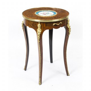 Antique French Ormolu Mounted Occasional Table Sevres Porcelain c.1880