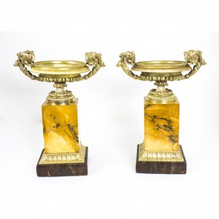 Antique pair of Regency bronze and Sienna marble Campana Urns c.1815