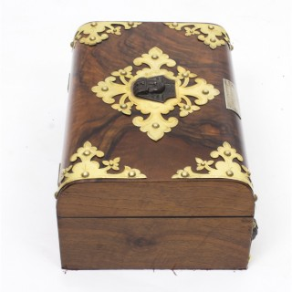Antique Empire Revival Burr Walnut Casket Sewing Box C1860