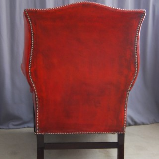 Chippendale period Mahogany wing armchair