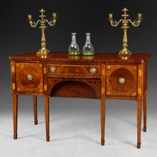 George III inlaid Mahogany serpentine fronted small Sideboard