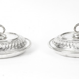 Antique Pair Engraved Entree Dishes Mappin Brothers London C1850