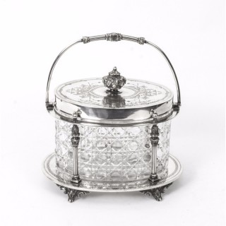 Antique Victorian Silver Plate & Crystal Biscuit Box William Hutton C1860