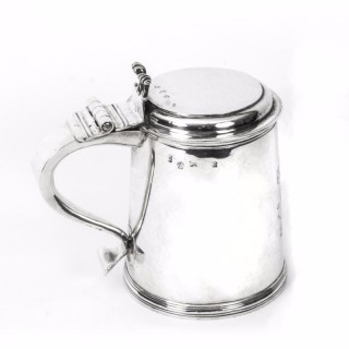Antique English William & Mary Sterling Silver Lidded Tankard 1691