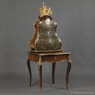 Louis XV Style Marquetry Writing Desk and Cartonnier