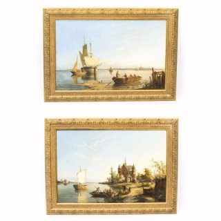 Antique Pair Oil Paintings
