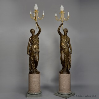 Pair of Gilt and Patinated Bronze Figural Candelabra