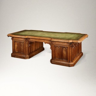 English Oak Monumental Partner's Desk in the Gothic Manner