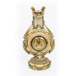 Antique Rare Royal Worcester Blush Porcelain Lyre Cased Mantle Clock Dated 1900