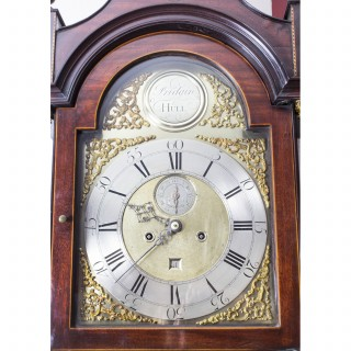 Antique Flame Mahogany & Inlaid Longcase Clock, William Pridgin, Hull, C1780
