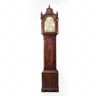 Antique Flame Mahogany & Inlaid Longcase Clock, William Pridgin, Hull, C1780