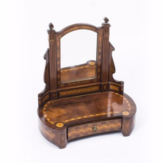 Antique French Burr Walnut Marquetry Dressing Table Mirror c.1860