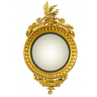 Antique English Regency Giltwood Convex Mirror C1820