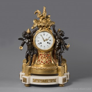 Louis XVI Style Gilt and Patinated Bronze Figural Clock