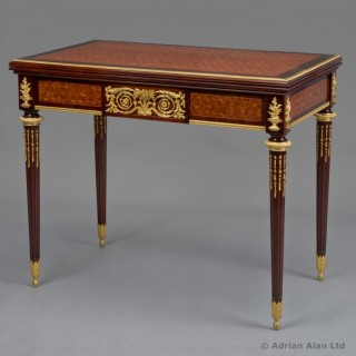 Louis XVI Style Games / Card Table With Roulette Wheel and Backgammon Board