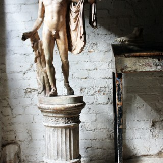 A Very Fine Early 20thC Plaster Figure of the Apollo Belvedere Mounted on a Circular Plinth; Cast by Domenico Brucciani (1814-80) Under the Victoria and Albert Museum, after the Antique, c.1939