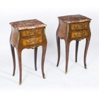 Antique Pair French Kingwood & Marquetry Bedside Cabinets c1900