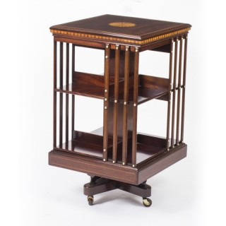 Antique Edwardian Inlaid Revolving Bookcase C1900