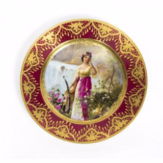 Antique Vienna Porcelain Cabinet Plate Bidenschild mark 1860