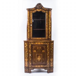 Antique Dutch Mahogany Marquetry Corner Cabinet c.1780