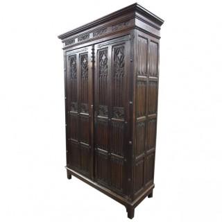 Gothic Style French Oak Wardrobe or Armoire