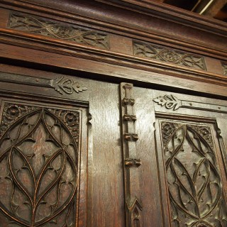 Gothic Style French Oak Wardrobe or Armoire