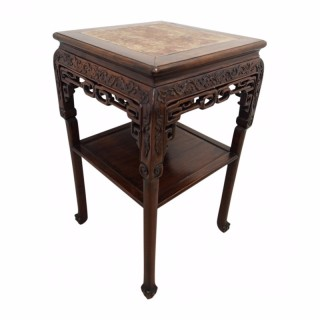 Chinese Hardwood Stand with Marble Top