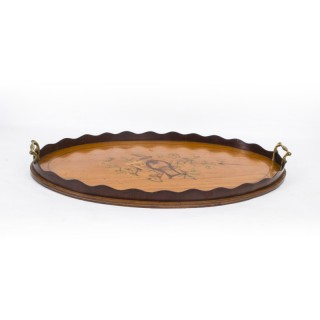 Antique Edwardian Oval Satinwood Marquetry Tray c.1900