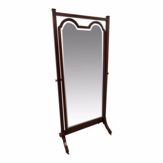 Victorian Ebony Inlaid and Mahogany Cheval Mirror