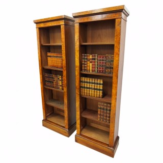 Pair of Walnut Tall Open Bookcases