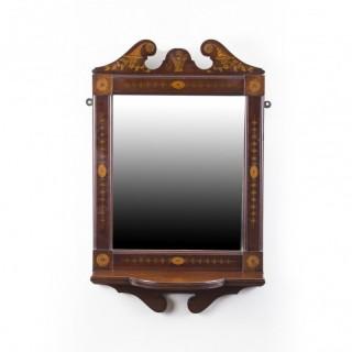 Antique Mahogany Inlaid Marquetry Mirror c.1900 - 94 x 51 cm