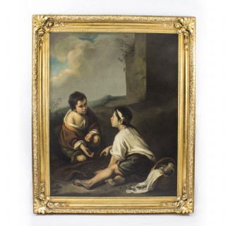 Antique Painting Boys Playing Dice After Bartolome' Murillo C1780