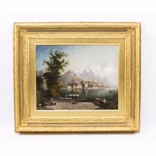 Antique Oil Painting Isola San Giuliano di Orta by John Bell 1876