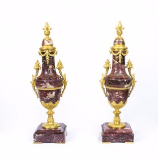 Antique Pair Louis XV Breche Violette & Ormolu Urns 1870