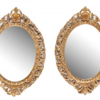 Pair of Victorian Oval Giltwood Mirrors