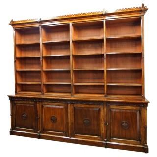 Gothic Style Mahogany Open Bookcase