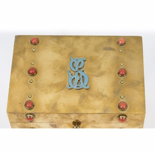 Antique French coral mounted brass letter stationary box C1880