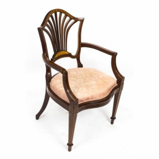 Antique Edwardian Mahogany Inlaid Armchair C1900