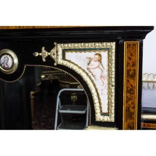 Antique Victorian Amboyna Inlaid Bonheur Du Jour c.1860