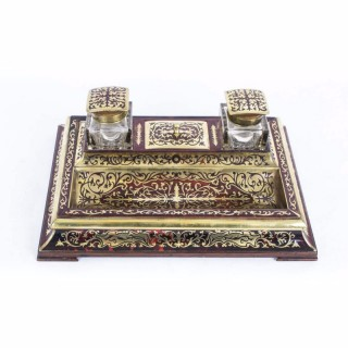 Antique French Boulle Cut Brass Inlaid Inkstand c.1840