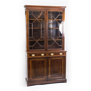 Antique Edwardian Inlaid Mahogany Bookcase by Maple & Co C1900