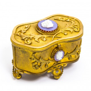 Antique French Gilt Bronze Jewellery Casket with Cameos c.1860