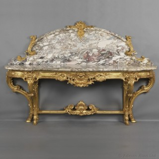 Louis XV Style Giltwood Console Table with a Marble Top