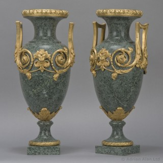 Pair of Gilt-Bronze Mounted  Verde Antico Marble Vases