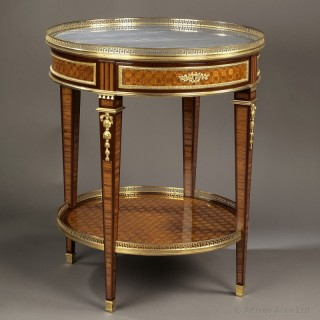 Louis XVI Style Gilt-Bronze Mounted and Marquetry Gueridon