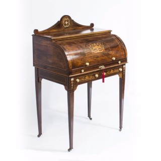 Antique Lady's Marquetry Inlaid Cylinder Bureau desk c.1880